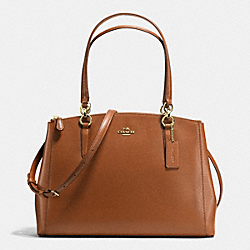 COACH CHRISTIE CARRYALL IN CROSSGRAIN LEATHER - IMITATION GOLD/SADDLE - F36606