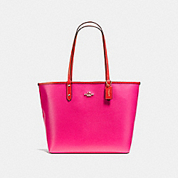 REVERSIBLE CITY TOTE IN COATED CANVAS - f36609 - IMITATION GOLD/CARMINE/PINK RUBY