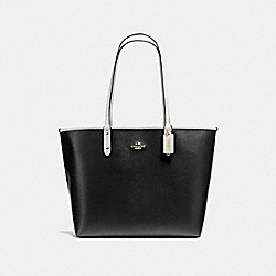 REVERSIBLE CITY TOTE IN COATED CANVAS - f36609 - IMITATION GOLD/BLACK