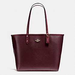 COACH REVERSIBLE CITY TOTE IN COATED CANVAS - IMITATION GOLD/OXBLOOD/BURGUNDY - F36609