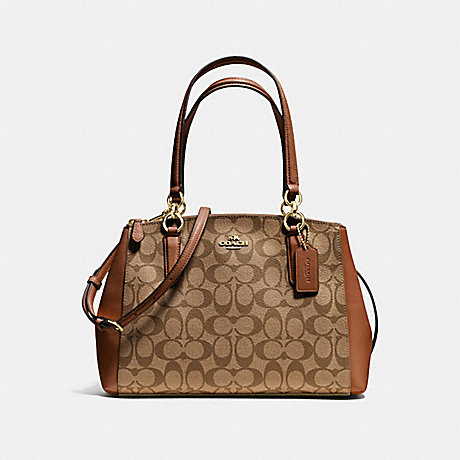 COACH SMALL CHRISTIE CARRYALL IN SIGNATURE - IMITATION GOLD/KHAKI/SADDLE - f36619