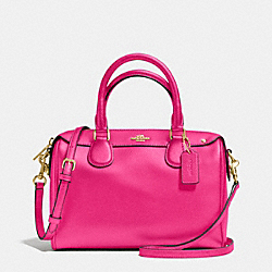 MINI BENNETT SATCHEL IN CROSSGRAIN LEATHER - f36624 - IMITATION GOLD/PINK RUBY