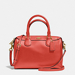 MINI BENNETT SATCHEL IN CROSSGRAIN LEATHER - f36624 - IMITATION GOLD/CARMINE