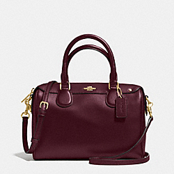 MINI BENNETT SATCHEL IN CROSSGRAIN LEATHER - f36624 - IMITATION GOLD/OXBLOOD