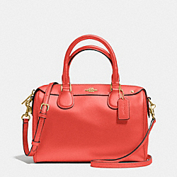 MINI BENNETT SATCHEL IN CROSSGRAIN LEATHER - f36624 - IMITATION GOLD/WATERMELON