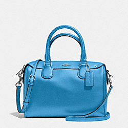 MINI BENNETT SATCHEL IN CROSSGRAIN LEATHER - f36624 - SILVER/AZURE