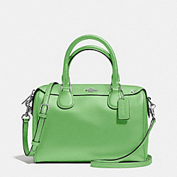MINI BENNETT SATCHEL IN CROSSGRAIN LEATHER - f36624 - SILVER/PISTACHIO