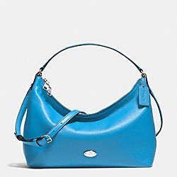 SMALL EAST/WEST CELESTE CONVERTIBLE HOBO IN PEBBLE LEATHER - f36628 - SILVER/AZURE