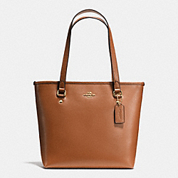 COACH ZIP TOP TOTE IN CROSSGRAIN LEATHER - IMITATION GOLD/SADDLE - F36632