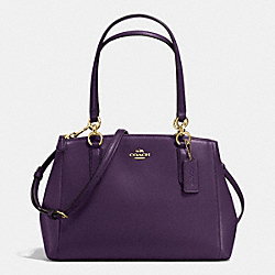 COACH SMALL CHRISTIE CARRYALL IN CROSSGRAIN LEATHER - IMITATION GOLD/AUBERGINE - F36637