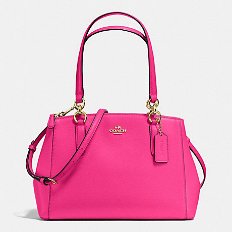 COACH SMALL CHRISTIE CARRYALL IN CROSSGRAIN LEATHER - IMITATION GOLD/PINK RUBY - f36637