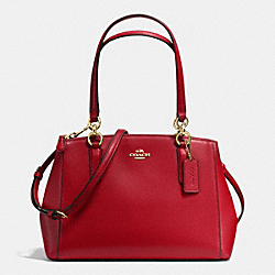 COACH SMALL CHRISTIE CARRYALL IN CROSSGRAIN LEATHER - IMITATION GOLD/TRUE RED - F36637