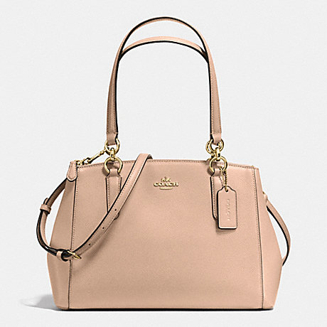 COACH SMALL CHRISTIE CARRYALL IN CROSSGRAIN LEATHER - IMITATION GOLD/BEECHWOOD - f36637