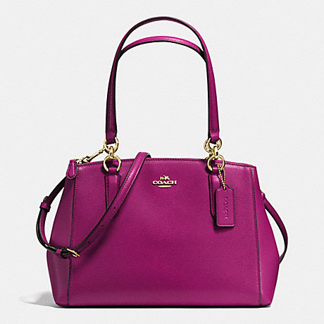 COACH SMALL CHRISTIE CARRYALL IN CROSSGRAIN LEATHER - IMITATION GOLD/FUCHSIA - f36637