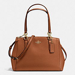COACH SMALL CHRISTIE CARRYALL IN CROSSGRAIN LEATHER - IMITATION GOLD/SADDLE - F36637