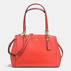 COACH SMALL CHRISTIE CARRYALL IN CROSSGRAIN LEATHER - IMITATION GOLD/WATERMELON - F36637