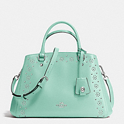 COACH BORDER STUD SMALL MARGOT CARRYALL IN CROSSGRAIN LEATHER - SILVER/SEAGLASS - F36640
