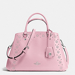 COACH BORDER STUD SMALL MARGOT CARRYALL IN CROSSGRAIN LEATHER - SILVER/PETAL - F36640