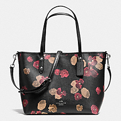 COACH SMALL METRO TOTE IN BLACK FLORAL COATED CANVAS - ANTIQUE NICKEL/BLACK - F36641