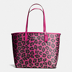 COACH REVERSIBLE CITY TOTE IN WILD BEAST PRINT CANVAS - SILVER/CRANBERRY/CRANBERRY - F36643