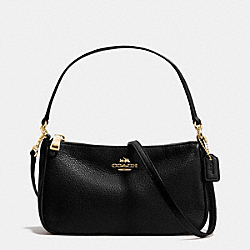 COACH TOP HANDLE POUCH IN PEBBLE LEATHER - IMITATION GOLD/BLACK - F36645