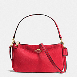 COACH TOP HANDLE POUCH IN PEBBLE LEATHER - IMITATION GOLD/CLASSIC RED - F36645