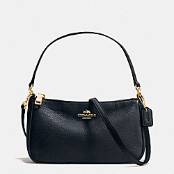 COACH TOP HANDLE POUCH IN PEBBLE LEATHER - IMITATION GOLD/MIDNIGHT - F36645