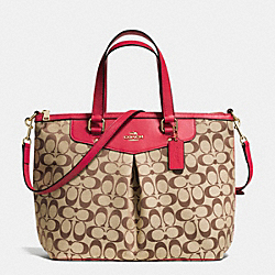 COACH PLEAT TOTE IN SIGNATURE - IMITATION GOLD/KHAKI/CLASSIC RED - F36653