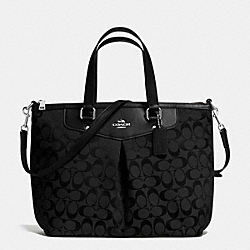 COACH PLEAT TOTE IN SIGNATURE - SILVER/BLACK/BLACK - F36653