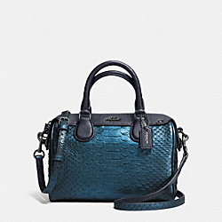 COACH BABY BENNETT SATCHEL IN METALLIC SNAKE EMBOSSED LEATHER - ANTIQUE NICKEL/METALLIC BLUE - F36657