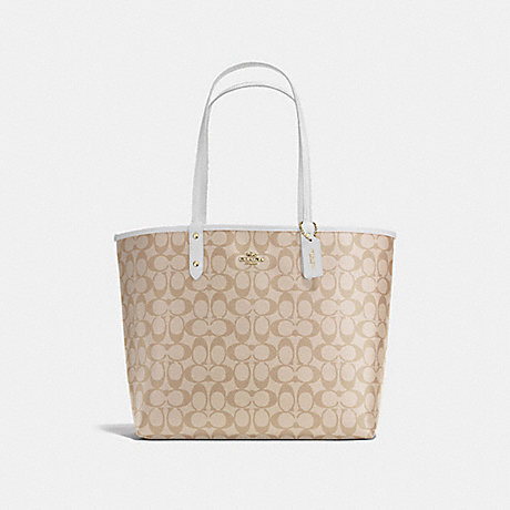 COACH f36658 REVERSIBLE CITY TOTE IN SIGNATURE IMITATION GOLD/LIGHT KHAKI/CHALK