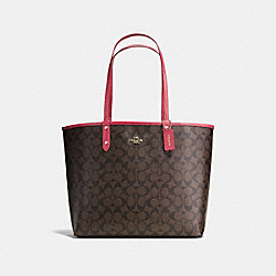 REVERSIBLE CITY TOTE IN SIGNATURE CANVAS - BROWN/STRAWBERRY/IMITATION GOLD - COACH F36658