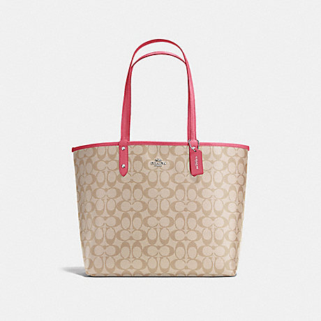 COACH f36658 REVERSIBLE CITY TOTE IN SIGNATURE SILVER/LIGHT KHAKI/STRAWBERRY