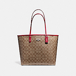 REVERSIBLE CITY TOTE IN SIGNATURE COATED CANVAS - SILVER/KHAKI - COACH F36658