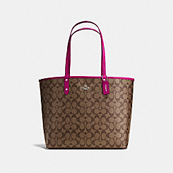 REVERSIBLE CITY TOTE IN SIGNATURE CANVAS - KHAKI/CERISE/SILVER - COACH F36658