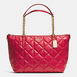 COACH AVA CHAIN TOTE IN QUILTED LEATHER - IMITATION GOLD/CLASSIC RED - F36661