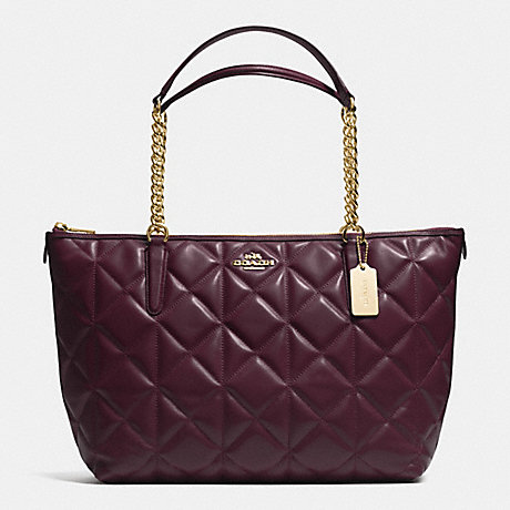 COACH f36661 AVA CHAIN TOTE IN QUILTED LEATHER IMITATION GOLD/OXBLOOD 1
