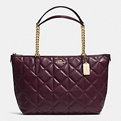 AVA CHAIN TOTE IN QUILTED LEATHER - f36661 - IMITATION GOLD/OXBLOOD 1