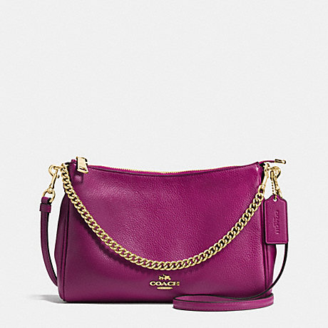 COACH CARRIE CROSSBODY IN PEBBLE LEATHER - IMITATION GOLD/FUCHSIA - f36666