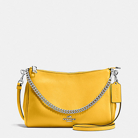 COACH CARRIE CROSSBODY IN PEBBLE LEATHER - SILVER/CANARY - f36666