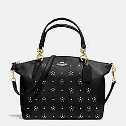 COACH ALL OVER STUD SMALL KELSEY SATCHEL IN CALF LEATHER - IMITATION GOLD/BLACK - F36670