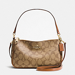 COACH TOP HANDLE POUCH IN SIGNATURE - IMITATION GOLD/KHAKI/SADDLE - F36674