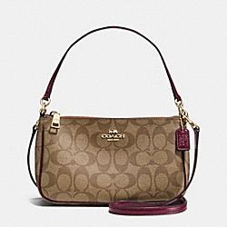 COACH TOP HANDLE POUCH IN SIGNATURE - IMITATION GOLD/KHAKI/SHERRY - F36674