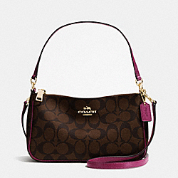COACH TOP HANDLE POUCH IN SIGNATURE - IMITATION GOLD/BROWN/FUCHSIA - F36674