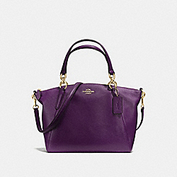 SMALL KELSEY SATCHEL IN PEBBLE LEATHER - f36675 - IMITATION GOLD/AUBERGINE
