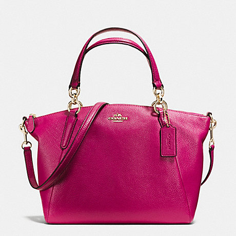 COACH f36675 SMALL KELSEY SATCHEL IN PEBBLE LEATHER IMITATION GOLD/CRANBERRY