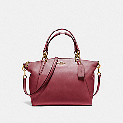 SMALL KELSEY SATCHEL IN PEBBLE LEATHER - F36675 - LIGHT GOLD/CRIMSON