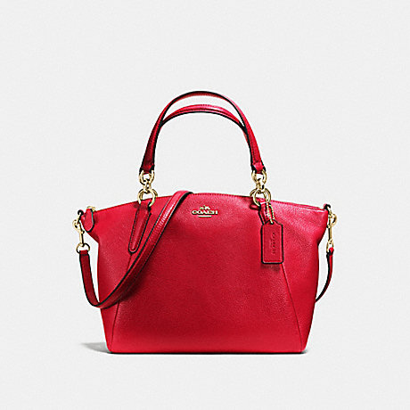 COACH SMALL KELSEY SATCHEL IN PEBBLE LEATHER - LIGHT GOLD/TRUE RED - f36675