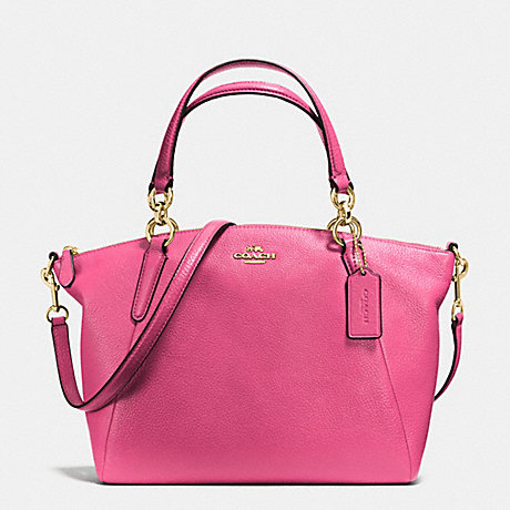 COACH f36675 SMALL KELSEY SATCHEL IN PEBBLE LEATHER IMITATION GOLD/DAHLIA
