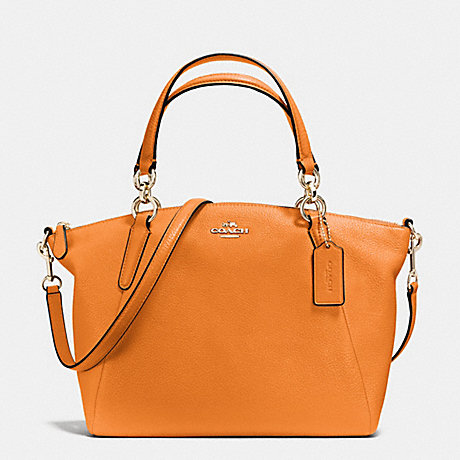 COACH f36675 SMALL KELSEY SATCHEL IN PEBBLE LEATHER IMITATION GOLD/ORANGE PEEL